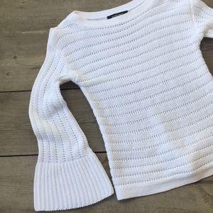 Ellen Tracy White Open Weave Bell Sleeve Sweater